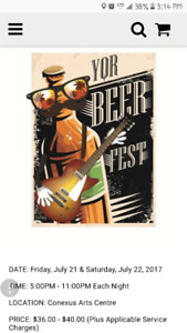 6 YQR Beer Fest tickets for tonight! (Friday the 21st)