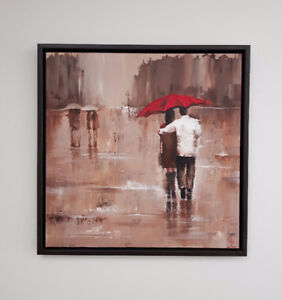 Original handmade acrylic painting - couple - umbrella