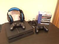 PS4, 2 Controllers, Headset & 12 Games. Mint Condition.