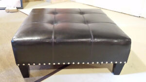 CHOCOLATE BROWN LEATHER OTTOMAN