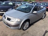 2005/55 RENAULT MEGANE 1.6 VVT DYNAMIQUE 2 DR SILVER GREY,CONVERTIBLE ,LOOKS AND DRIVES WELL