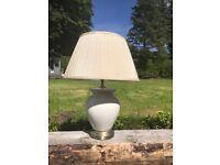 Pair. New & unused.Cream /white crackle glaze lamps & silk shade