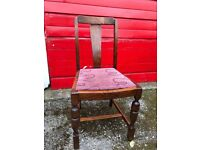 1940s solid oak dining chairs