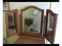 Solid Pine Treble Dressing Table Mirror - Excellent Cond!