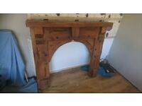Lovely wooden fire surround and matching mirror