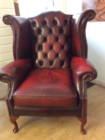 Chesterfield high wing chair in antique oxblood leather