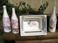 VINTAGE HANDMADE DECOUPAGE Set of 3 Bottles and a Wooden Crate - Home Decor/Wedding Decoration