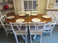 Shabby Chic Ducal Table and Chairs in Farrow and Ball 'Wimborne White'