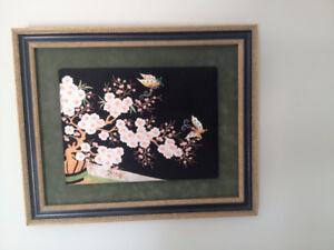 Cadre en Broderie ** Oriental ** Embroidered Wall Art