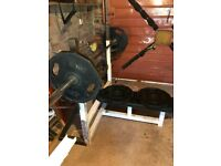 Olympic bench press with weights and bar