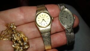 watches and gold necklace with diamonds