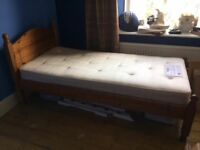 Solid pine single bed and mattress in excellent used condition