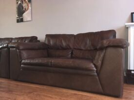 2 times 2 seater real leather sofa plus 1 reclining armchair in brown