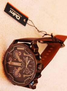 OULM 2 Time Zone Military Quartz Leather Band Watch