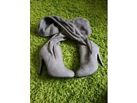 Knee length grey boots bn size 3