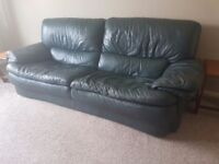 Two Dark Green Authentic Leather Sofas
