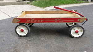 wooden wagon, tricycle, air pump, snow racer