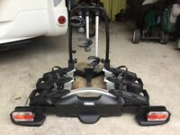 Compact 3 bike Thule bike carrier complete with lights etc.