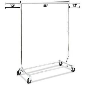 Industrial strength rolling clothing rack collapsible Brand New
