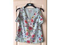 Cold shoulder blouse size 8 Oasis