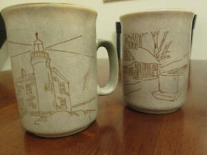 Ceramic Hand Crafted Two Coffee Mugs.Collection Manoir