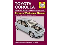 Haynes Manual for Toyota Corolla 2002 to 2007 good condition