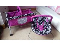 Mamas and Papas Dolls cot and chair