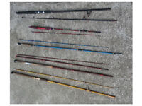 J0B L0T 7 x Vintage Fishing Rods Fly Beach & Spinning