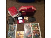 Nintendo 3DS flame red boxed with games case etc