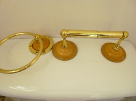 Pine and Brass Toilet Roll & Towel Holder