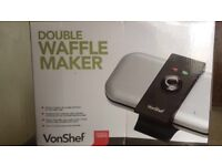 Vonshef Double Waffle Maker. Makes 2 waffles at once!, comes with an instruction booklet