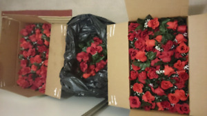 2 Boxes Full + 1/2 a bag of Artificial Roses varying stem sizes.