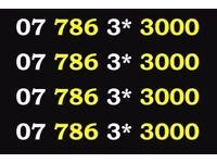 07 786 3* 3000 Vodafone Mobile Phone Number Sim Card