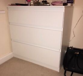 white MALM ikea chest of 3 drawers