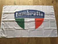 Lambretta motorcycles scooters workshop flag banner