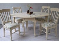Shabby Chic Drop Leaf Dining Table with 4 Chairs Cream Laura Ashley Floral Fabric