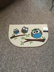 "BRAND NEW LARGE 18""X30"" ADORABLE OWL MAT SKID RESIST BACKING!"