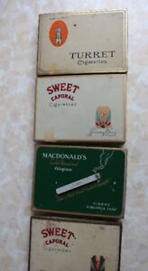 7 Cigarette Tobacco tins Turret Sweet Caporal Players Flat 50