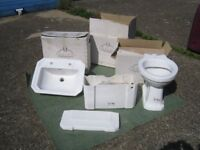 Adelphi white ceramic toilet, cistern and sink - new