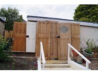 6 Solid Pine Wooden Doors - 5 Are 100 Years Old - Original Door Knobs (not attached)