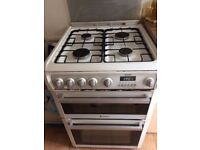 Gas cooker Hotpoint - 4 burner hob and double oven