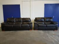 DFS BROWN LEATHER LOUNGE SUITE 2 SEATER & 3 SEATER SOFA / SETTEE SET 2 SOFAS DELIVERY AVAILABLE