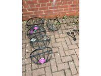 4 wall metal planters & one hanging basket & 4 wall brackets