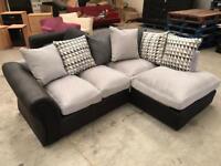 Brand new silver grey and black corner sofa