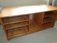 LARGE PINE TV SHELVING UNIT. HEAVY AND SOLID PIECE.