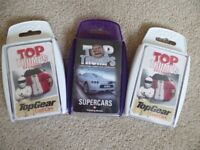 Three sets of Top Trump cards - X2 Top Gear Cool Cars and Gum Ball 3000 Supercars