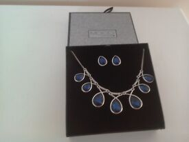 Blue Stone Necklace with Matching Earings