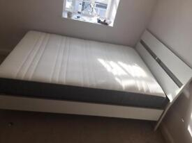 Ikea King size bed with memory foam top quality mattress