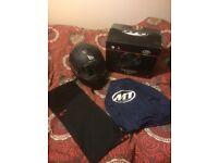 MT Thunder Matt Black motorbike helmet with box bag and snood