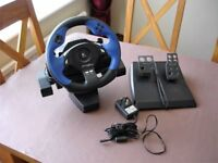 Logitech Force Feedback Driving Force steering wheel and pedals for Sony PS2 and possibly PS3